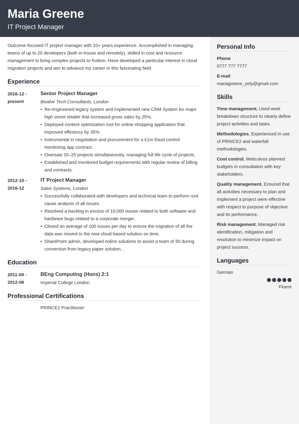 uk project manager cv example template cubic
