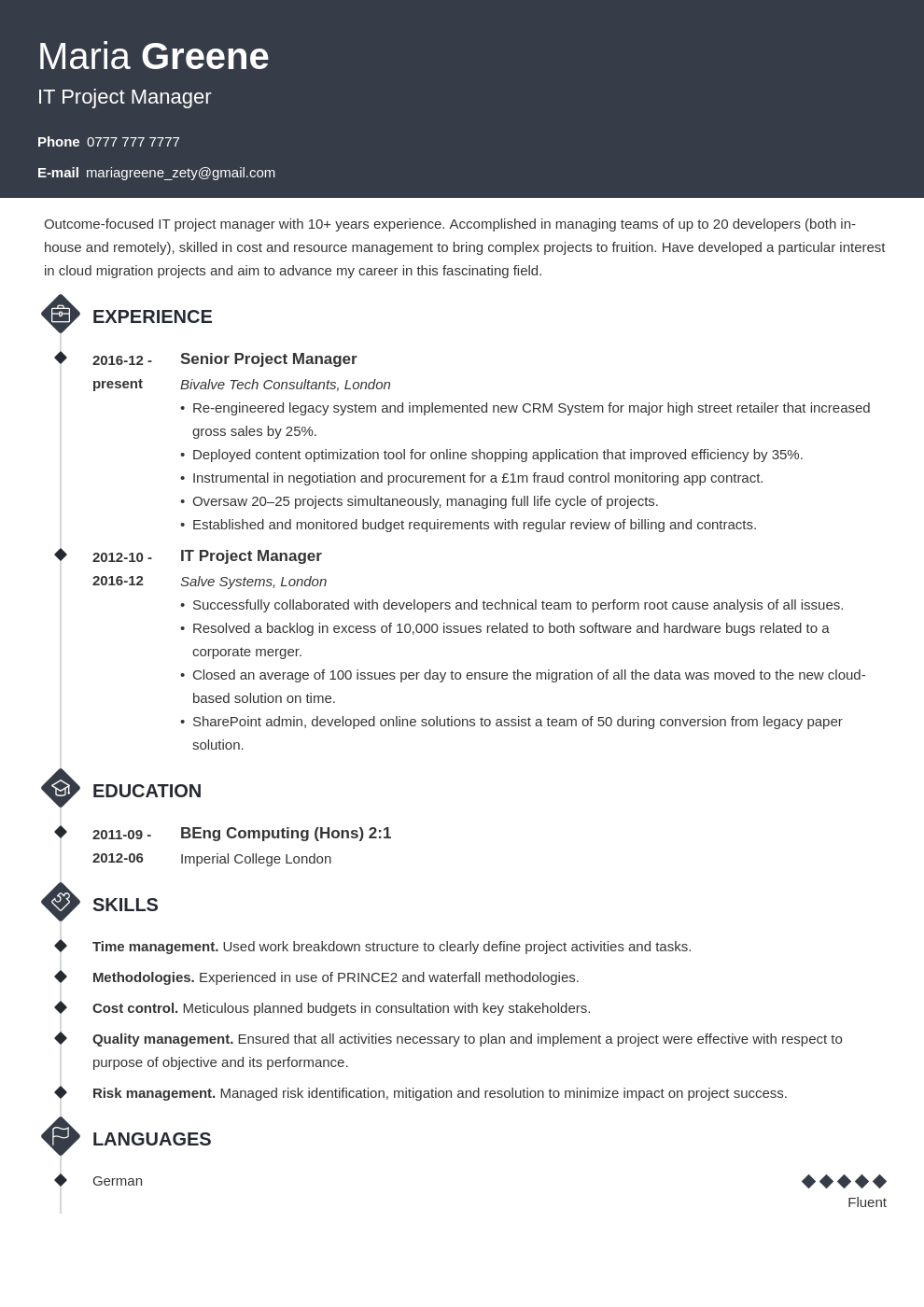uk project manager cv example template diamond