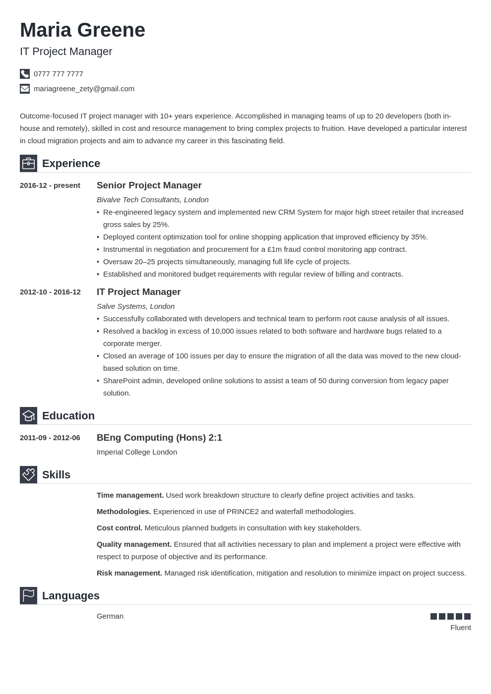 uk project manager cv example template iconic
