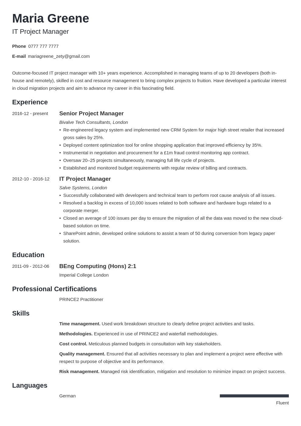 uk project manager cv example template minimo