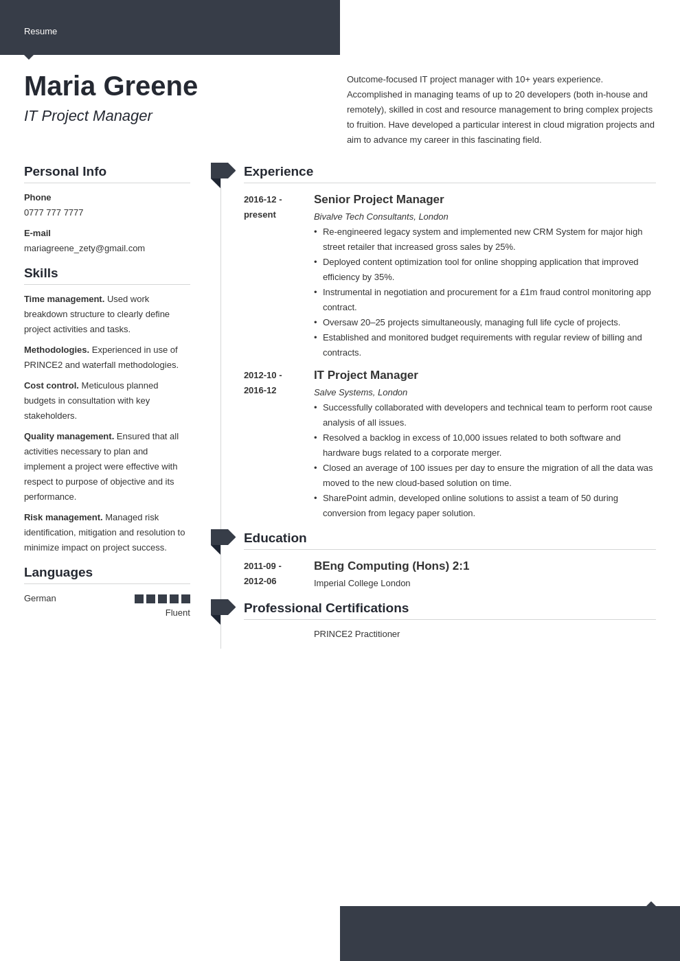 uk project manager cv example template modern
