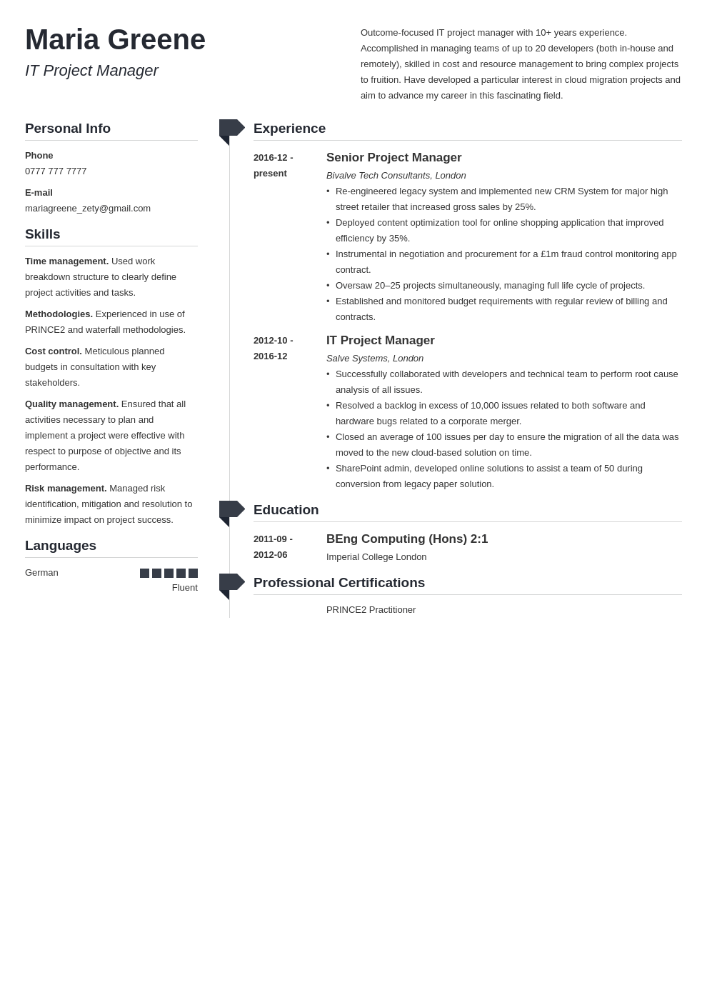 uk project manager cv example template muse