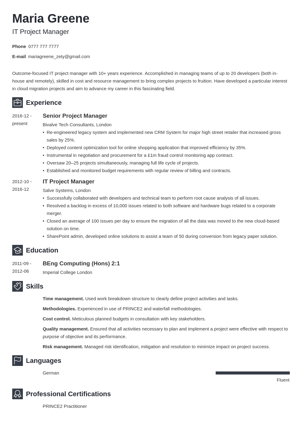 uk project manager cv example template newcast