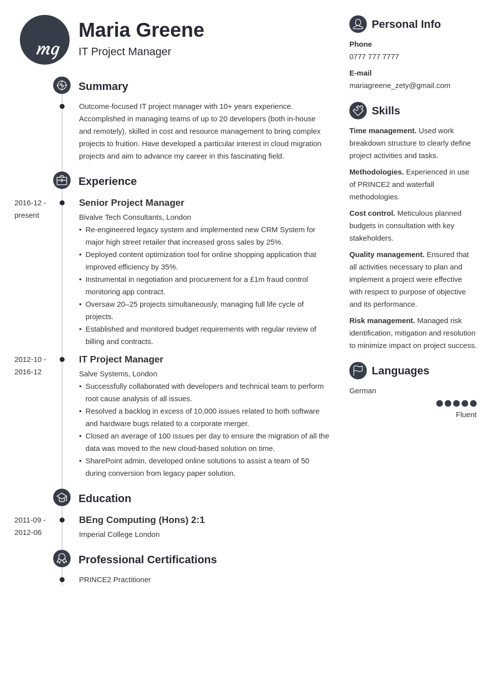 uk project manager cv example template primo