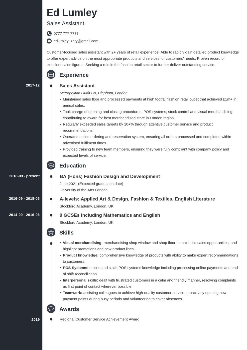 uk retail cv example template concept