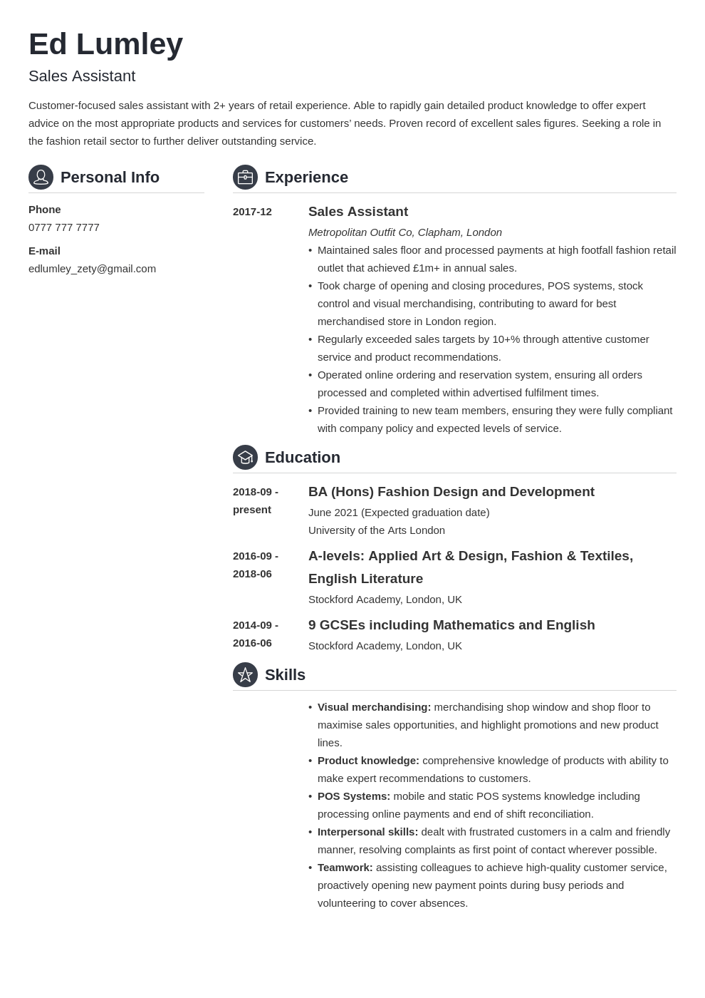 uk retail cv example template crisp