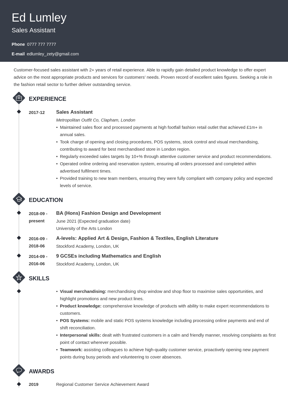 uk retail cv example template diamond
