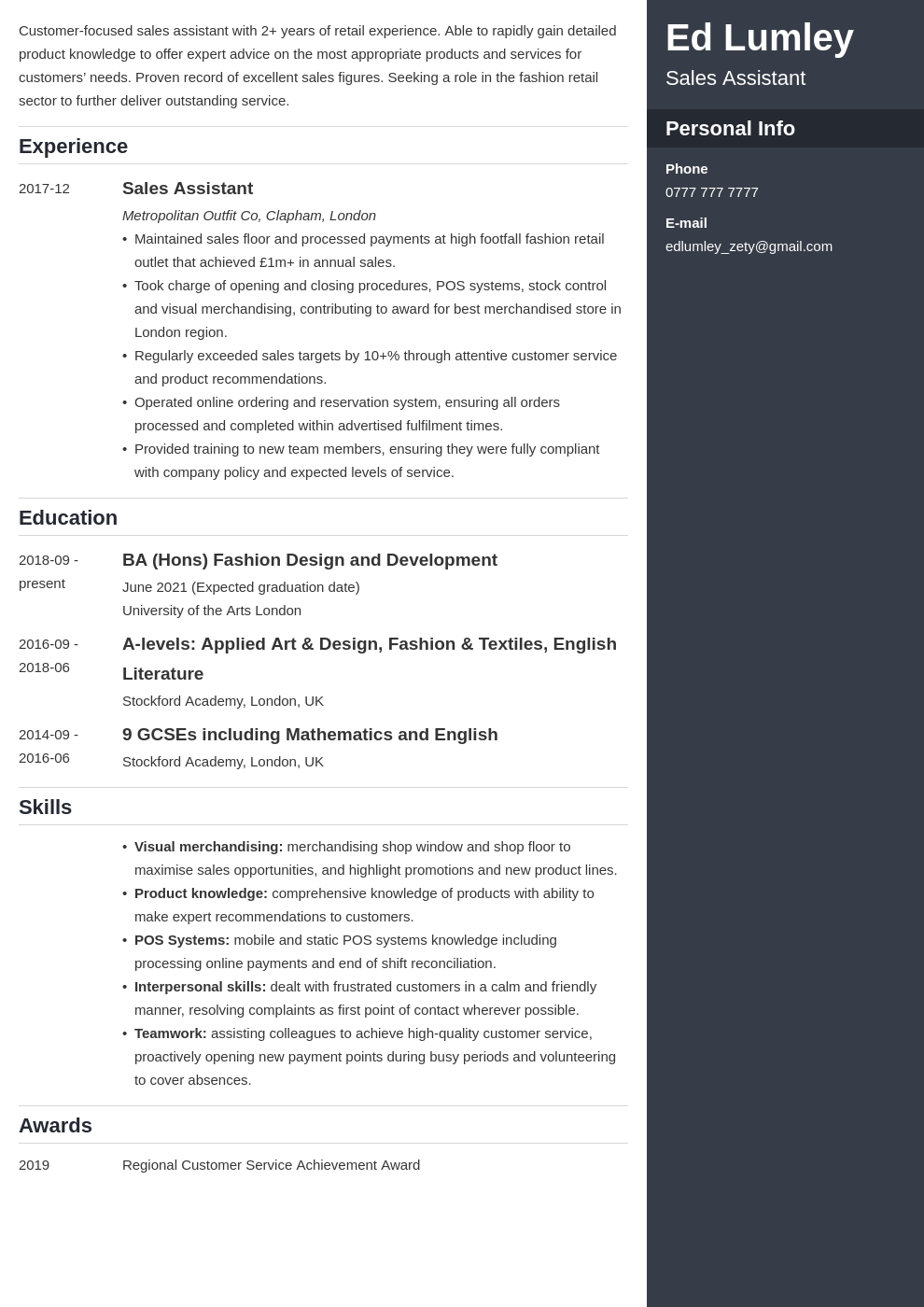uk retail cv example template enfold