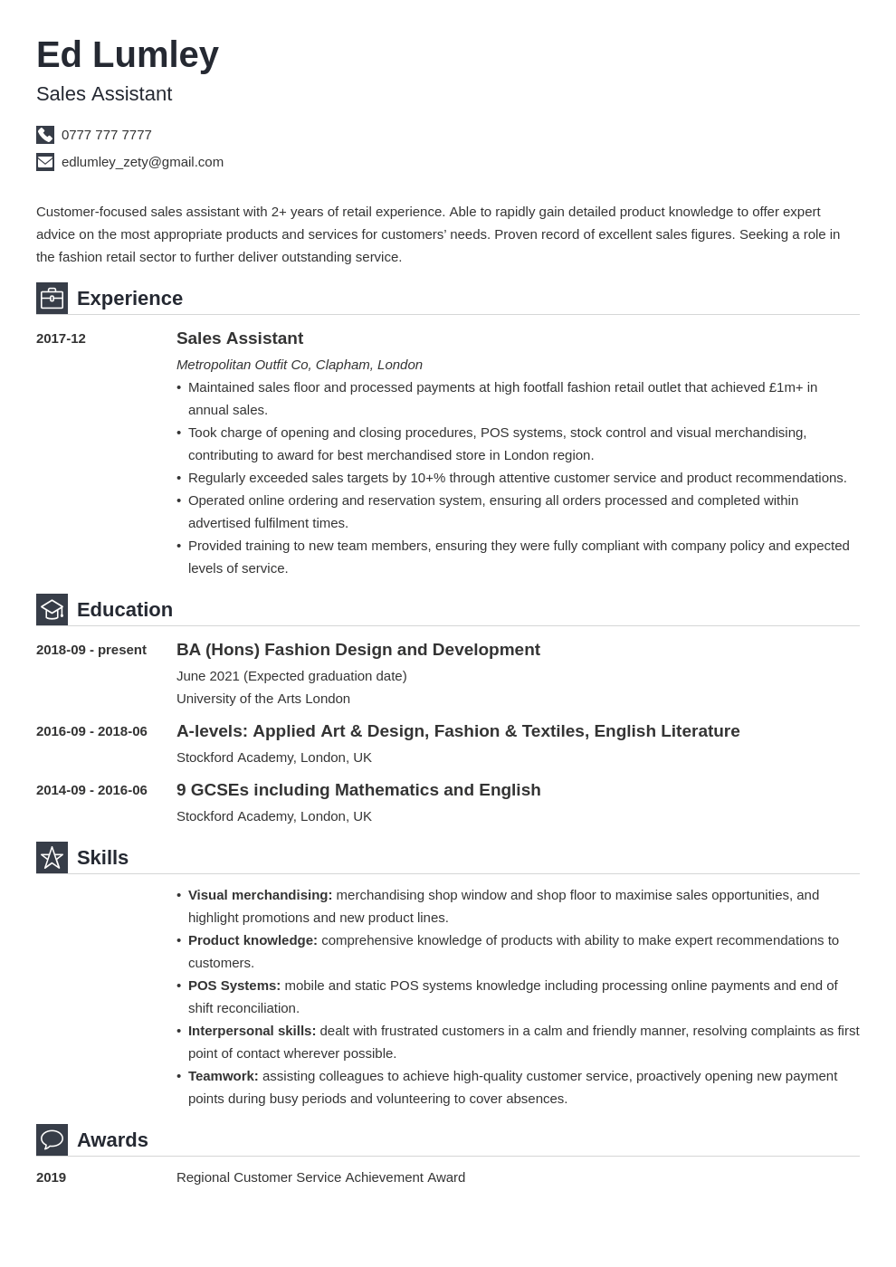 uk retail cv example template iconic
