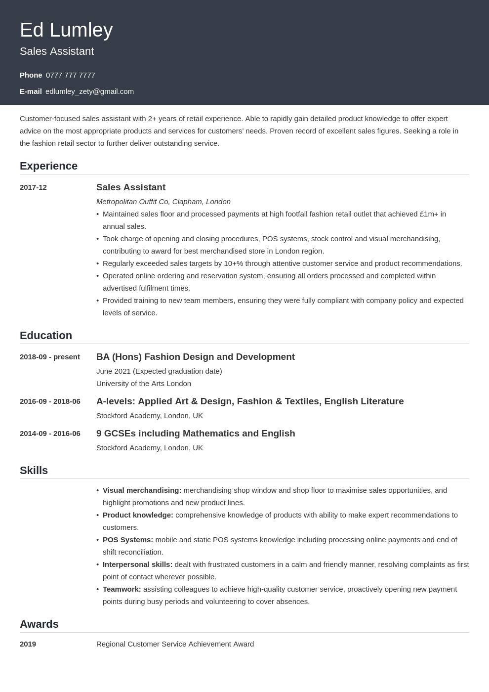 uk retail cv example template influx