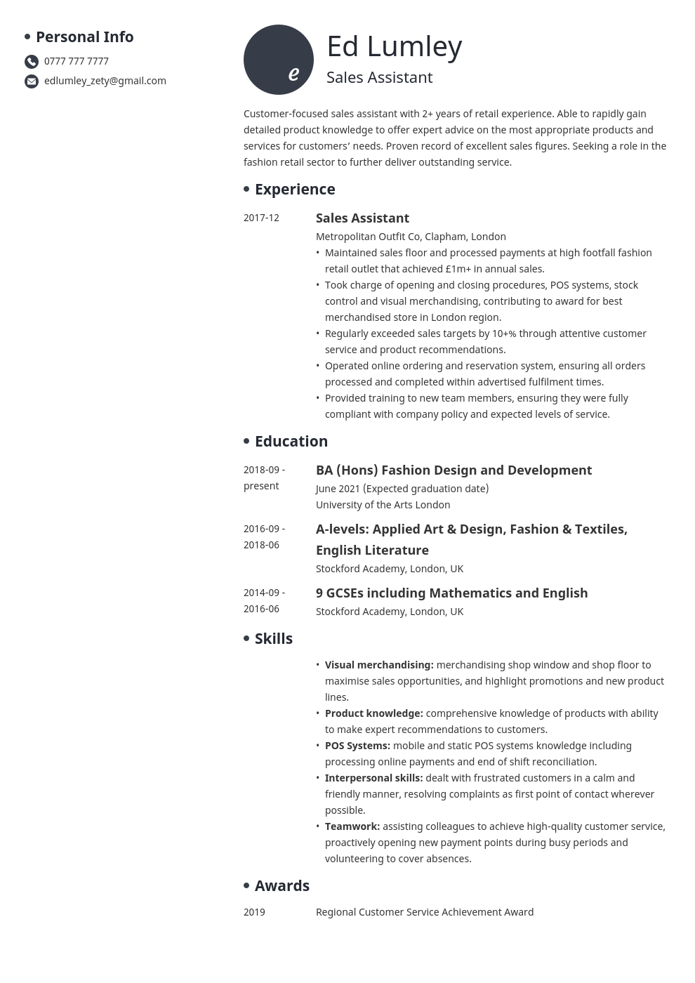 uk retail cv example template initials
