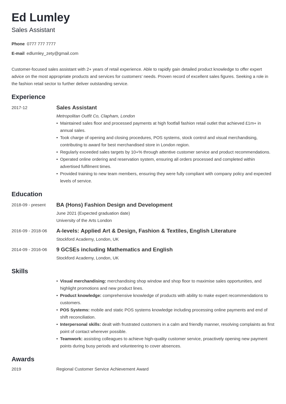 uk retail cv example template minimo