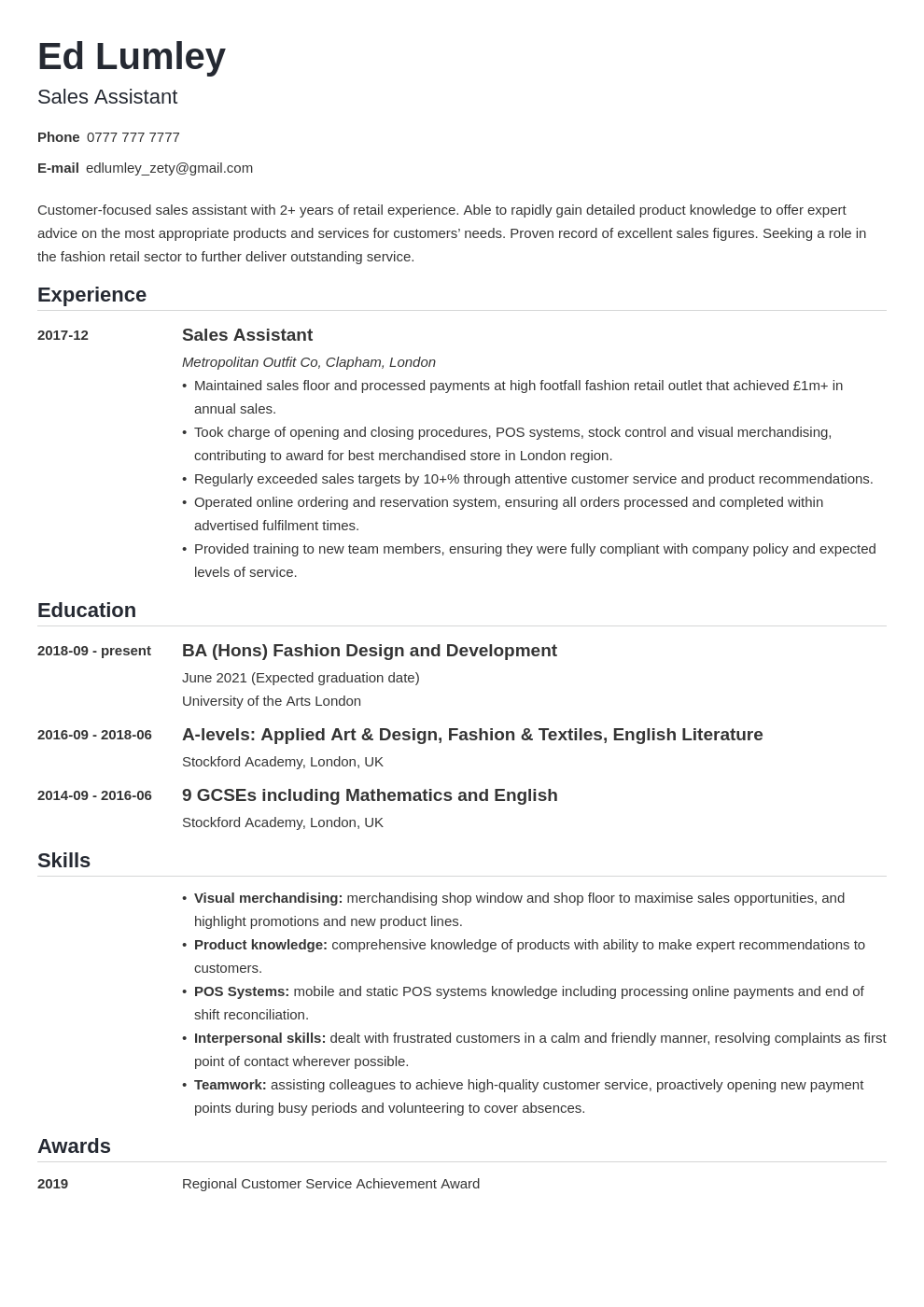 uk retail cv example template nanica