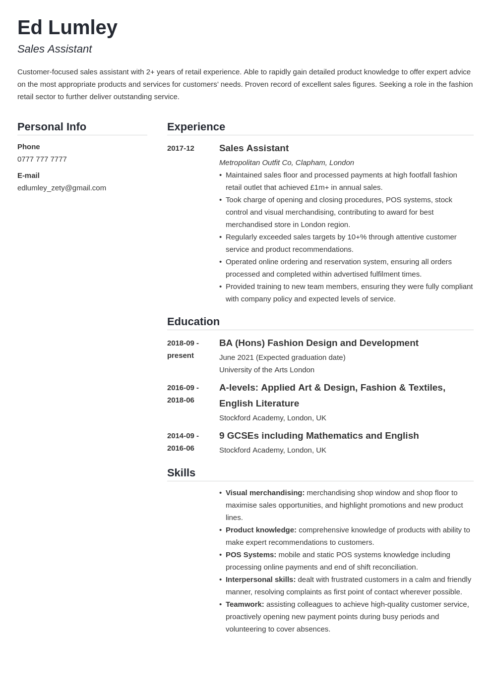 uk retail cv example template simple