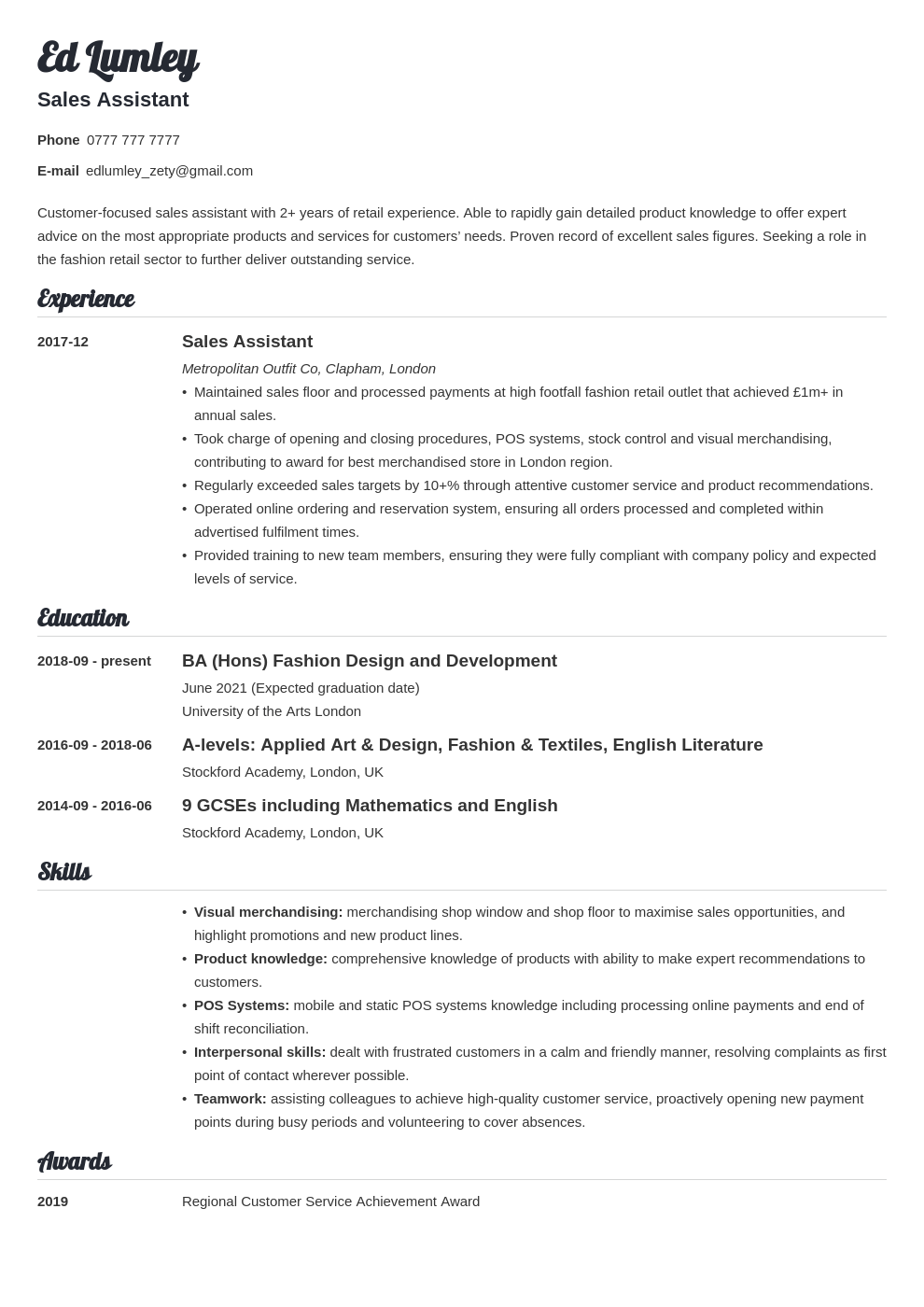 uk retail cv example template valera