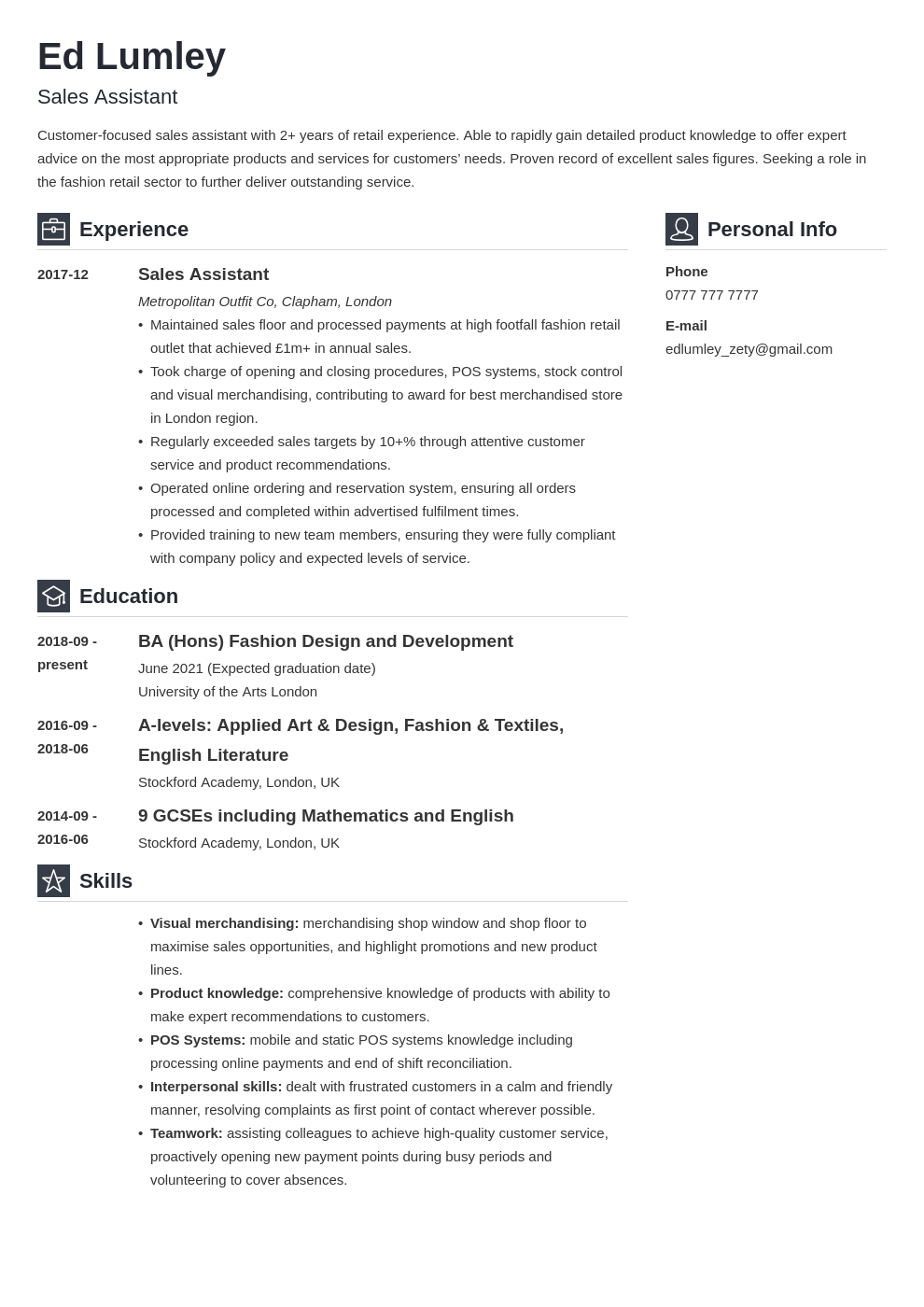 uk retail cv example template vibes