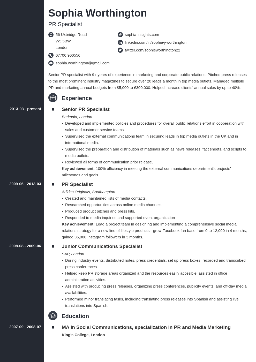uk skills based cv template concept