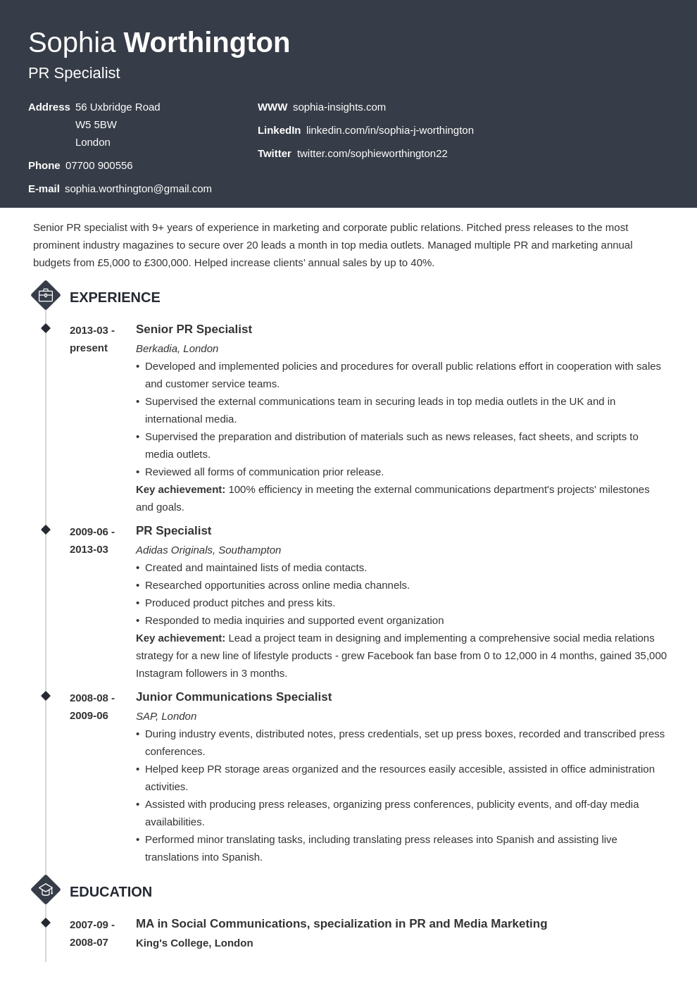 uk skills for a cv template diamond