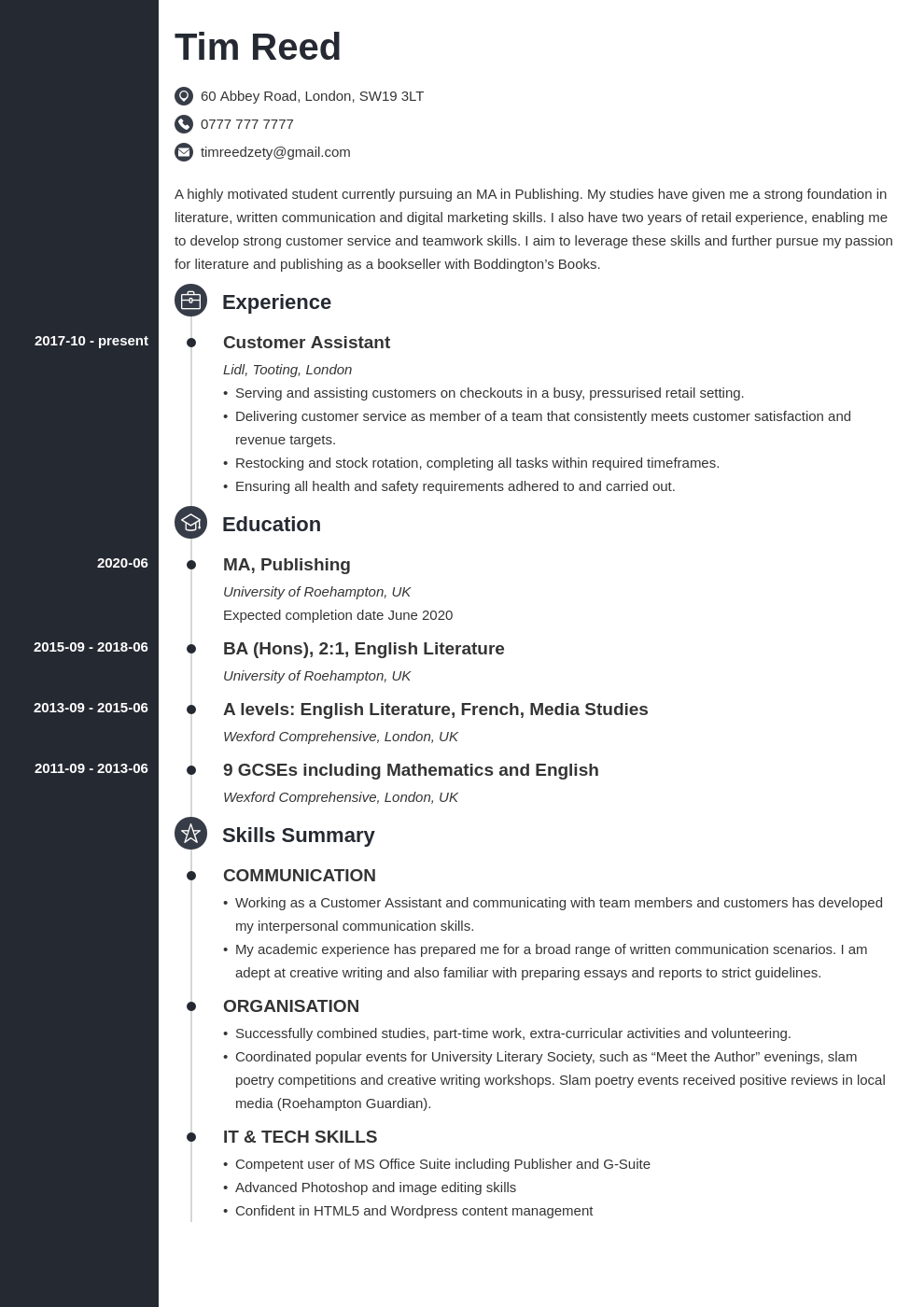 uk student cv example template concept