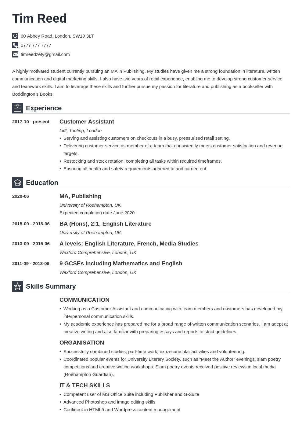 uk student cv example template iconic