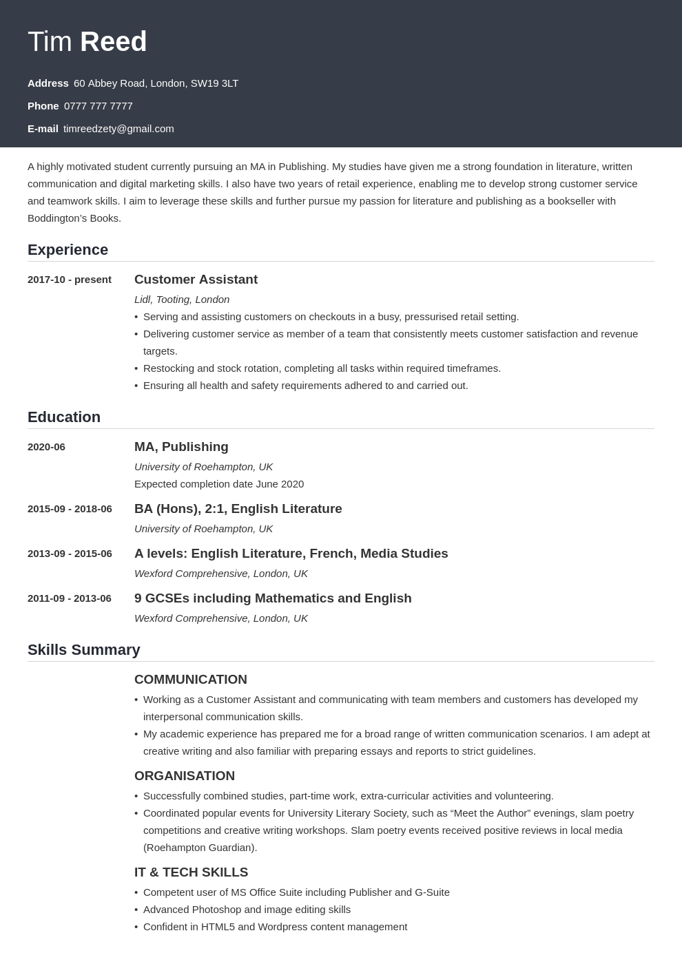 uk student cv example template influx