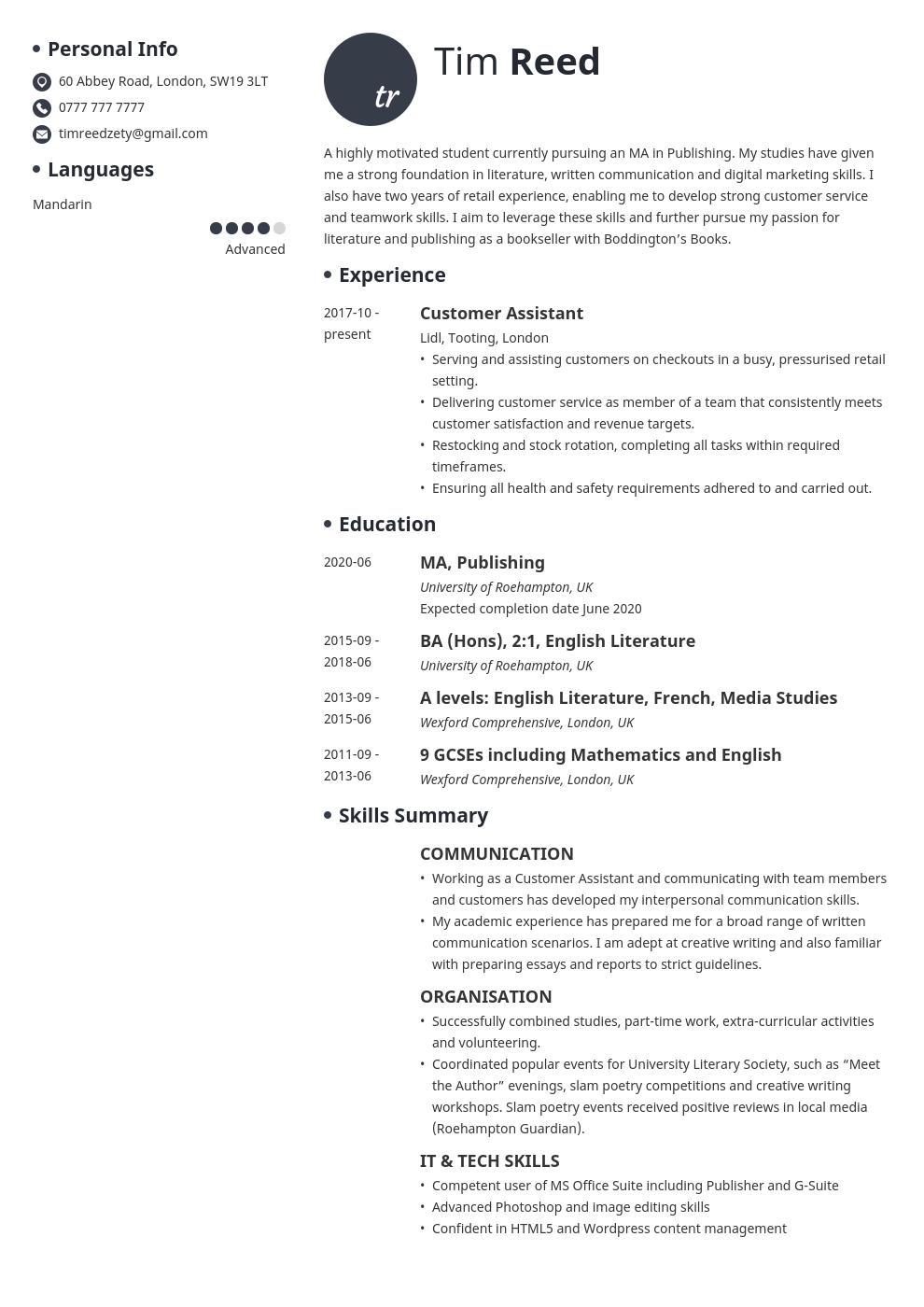 uk student cv example template initials