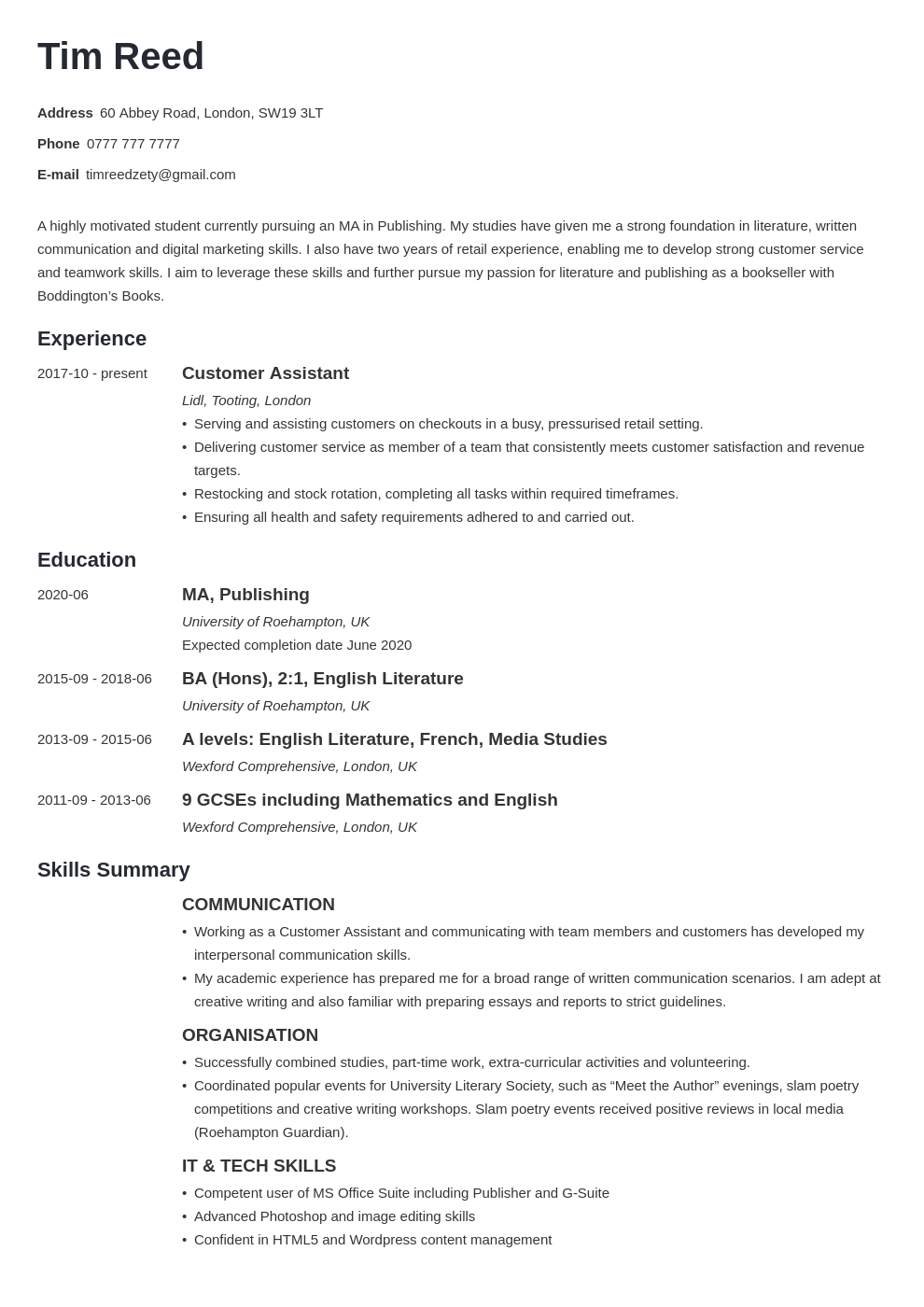 uk student cv example template minimo