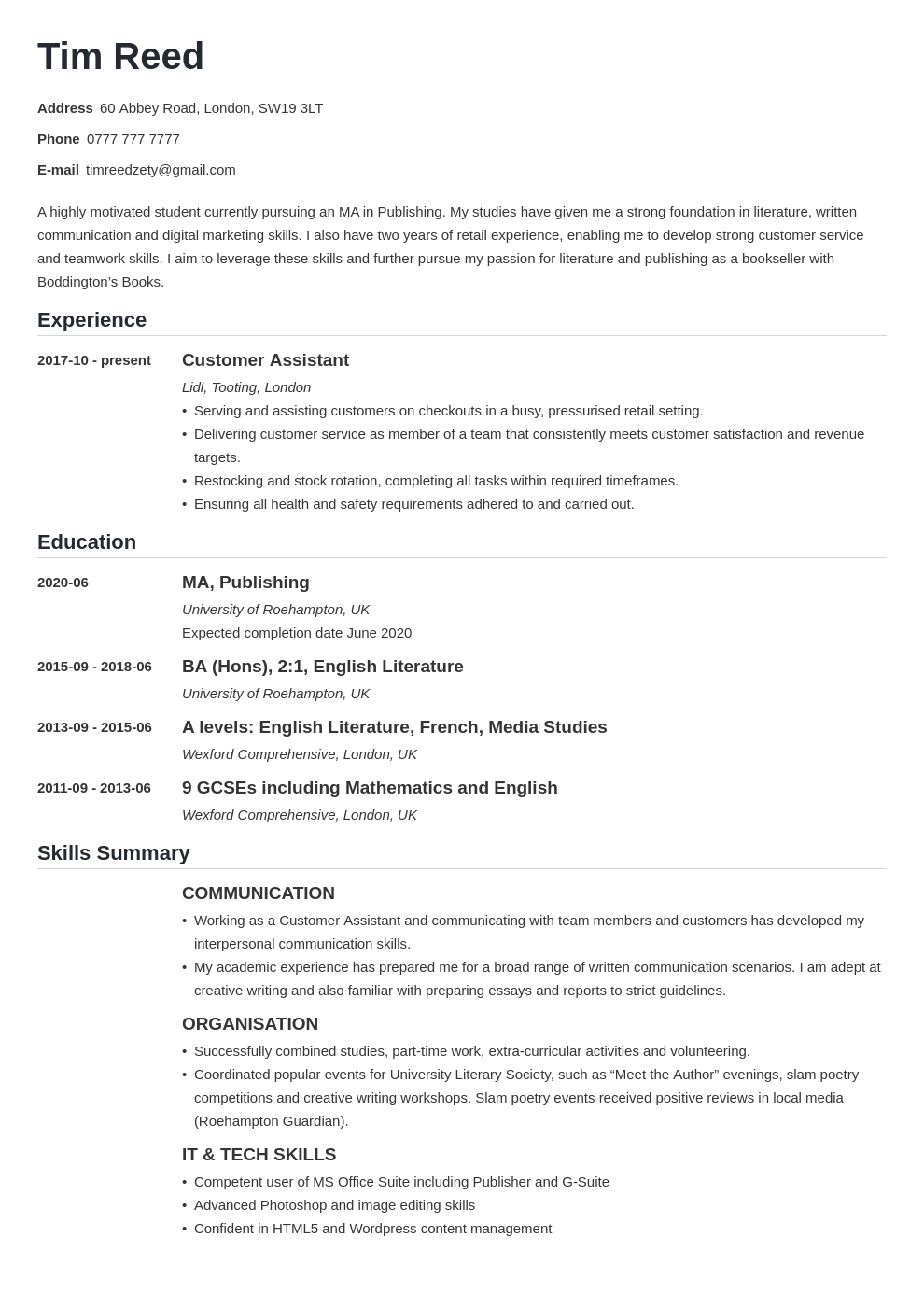 uk student cv example template nanica