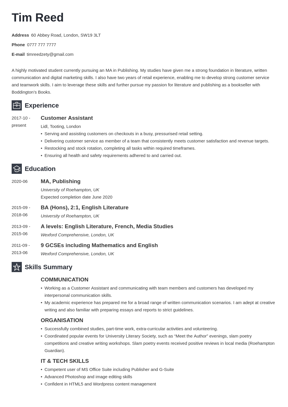 uk student cv example template newcast