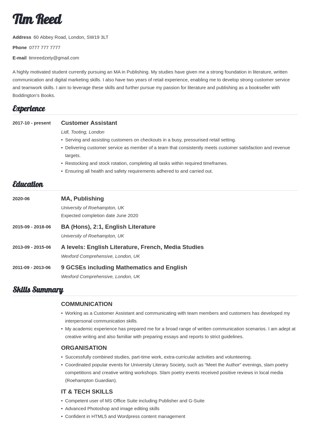 uk student cv example template valera