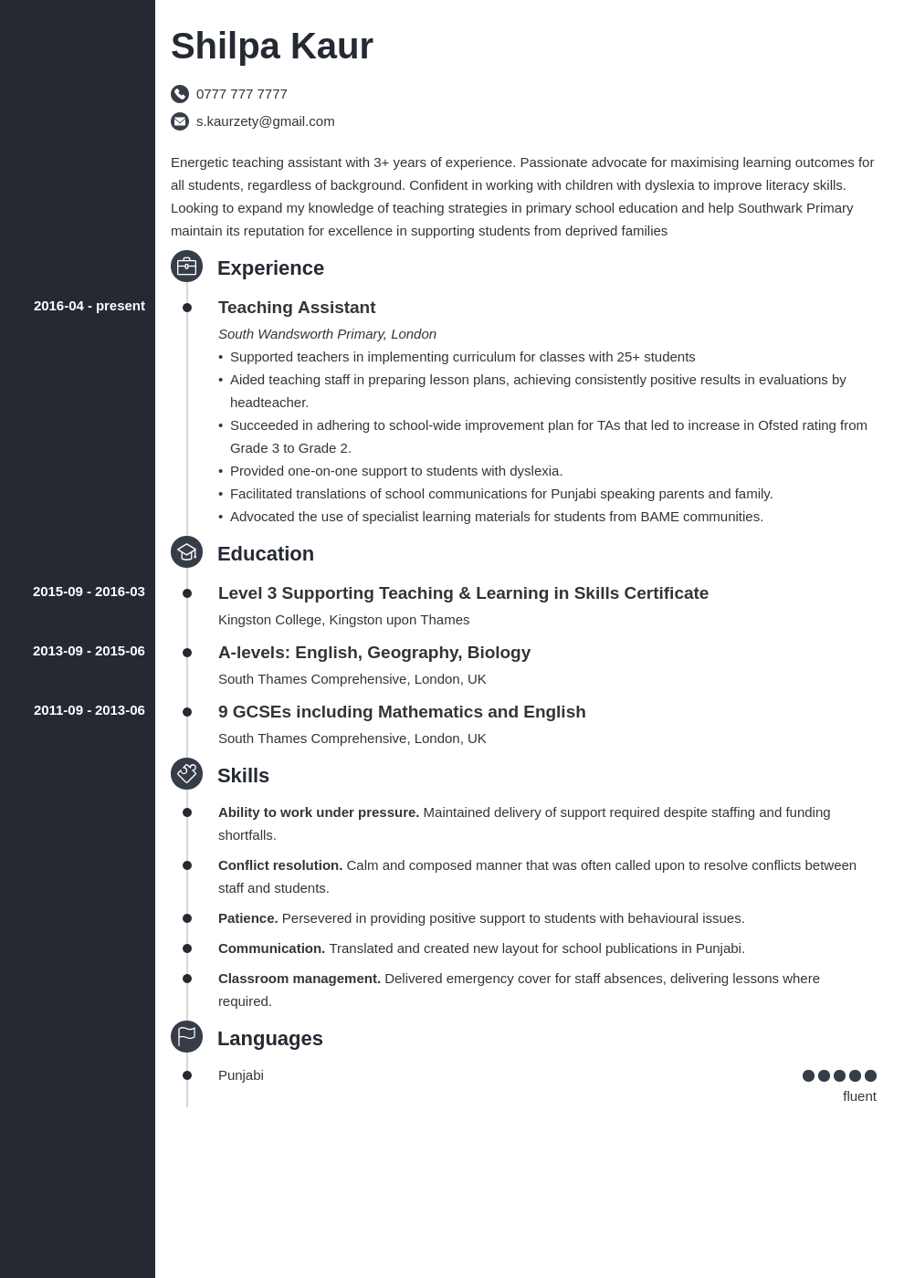 uk teaching assistant cv example template concept