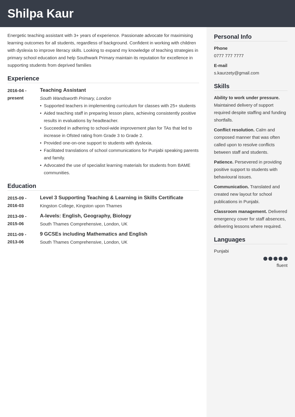 uk teaching assistant cv example template cubic