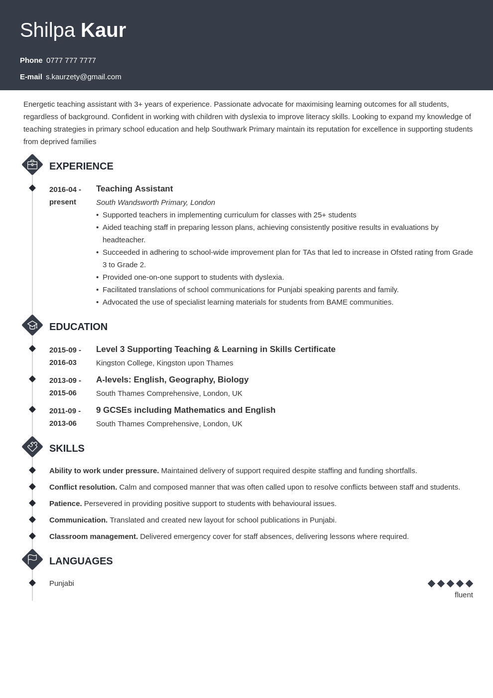 uk teaching assistant cv example template diamond