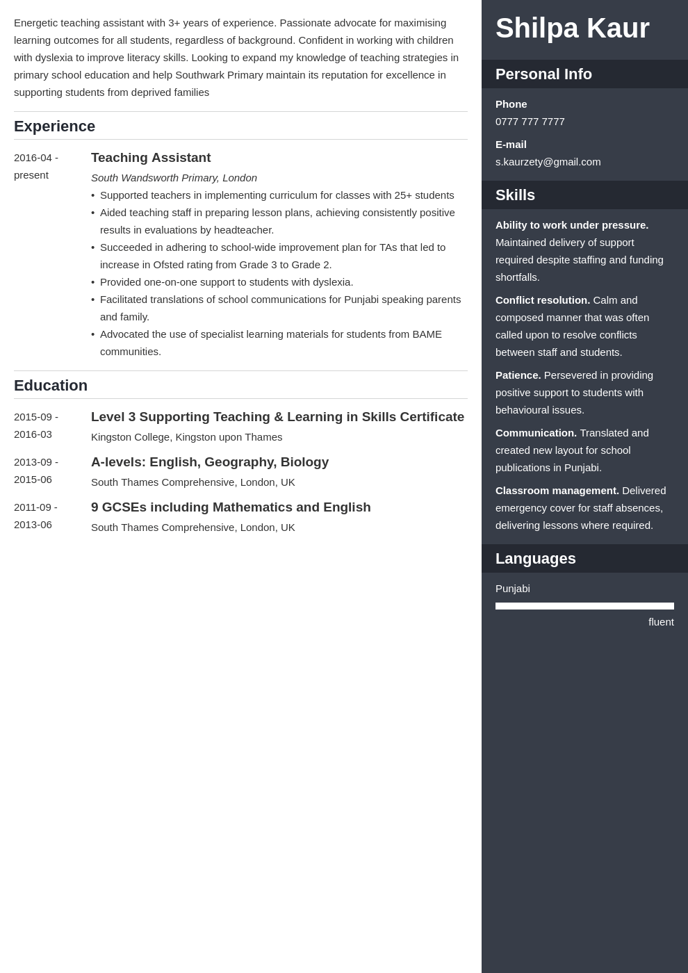 uk teaching assistant cv example template enfold