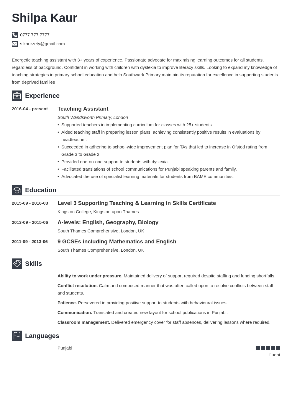 uk teaching assistant cv example template iconic