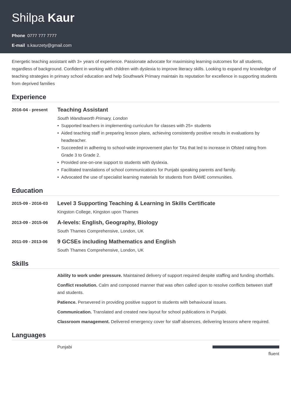uk teaching assistant cv example template influx