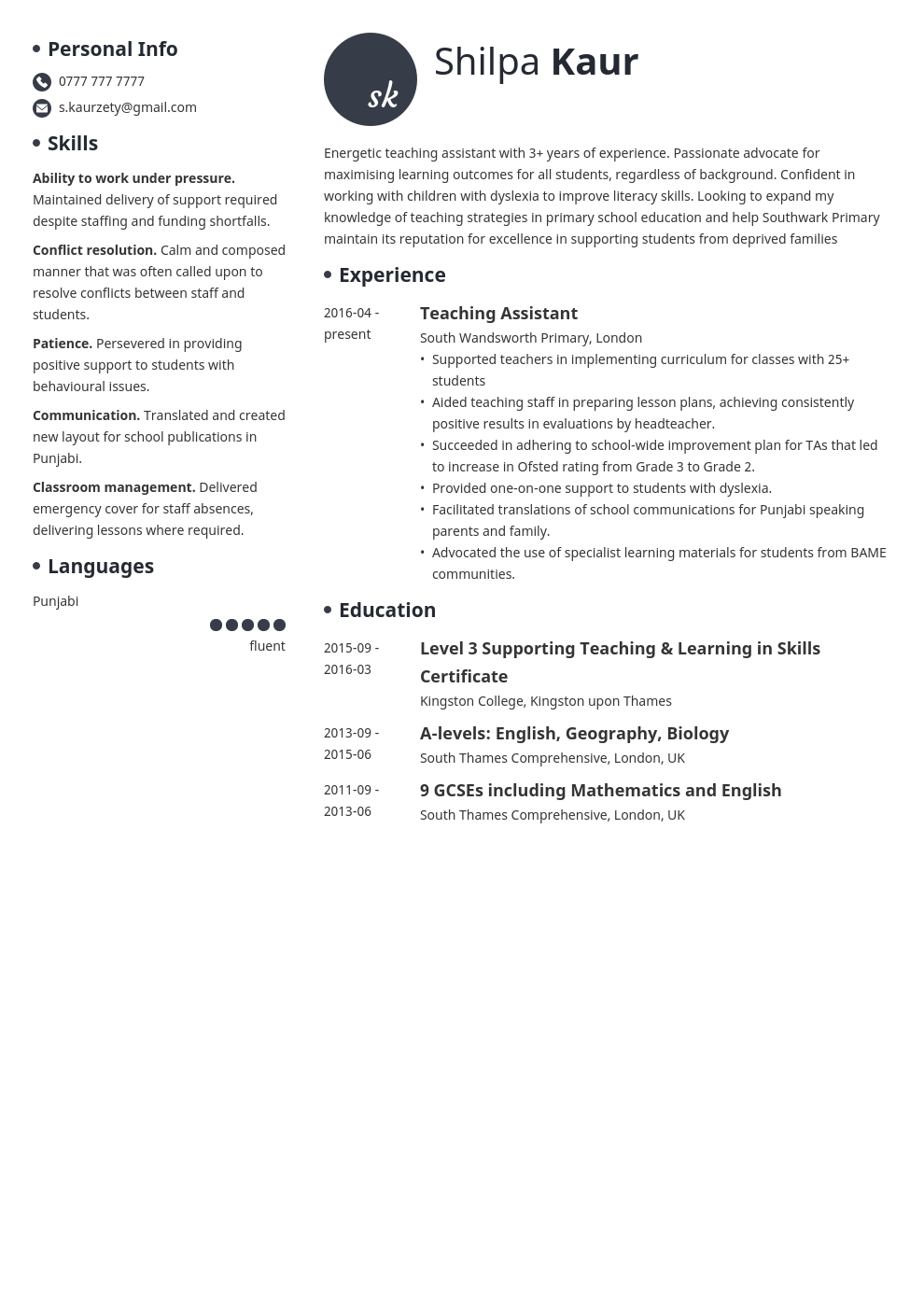 uk teaching assistant cv example template initials