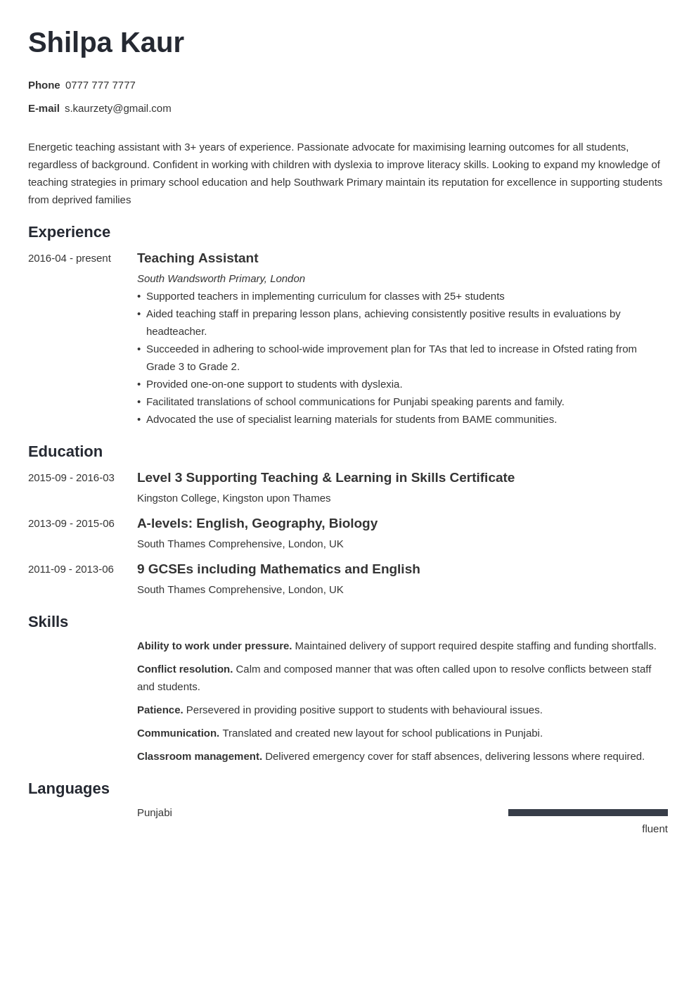 uk teaching assistant cv example template minimo