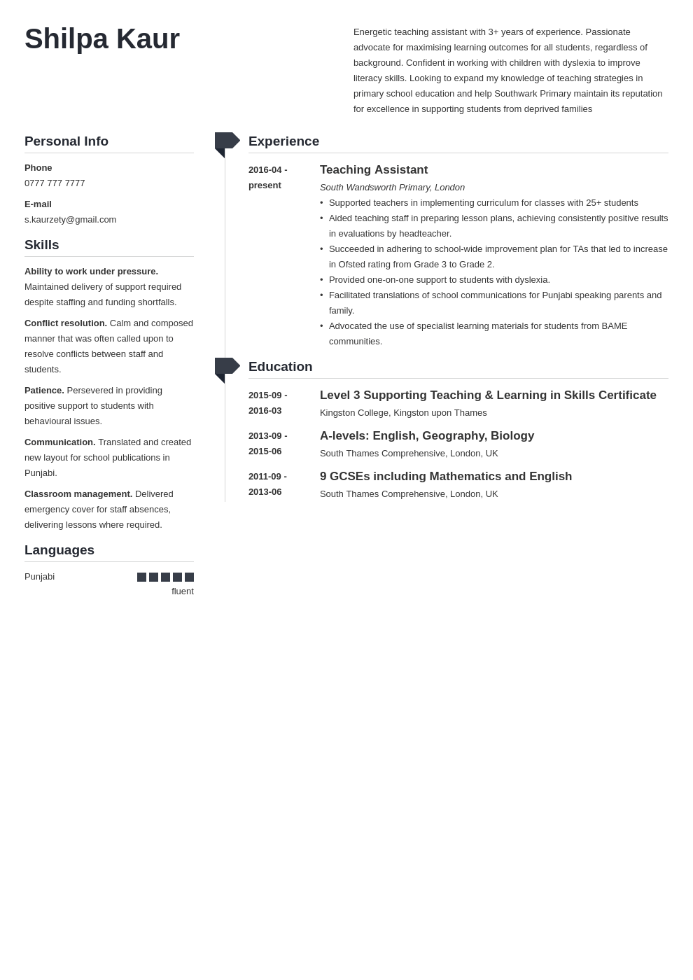 uk teaching assistant cv example template muse