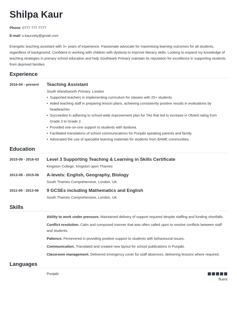 uk teaching assistant cv example template nanica