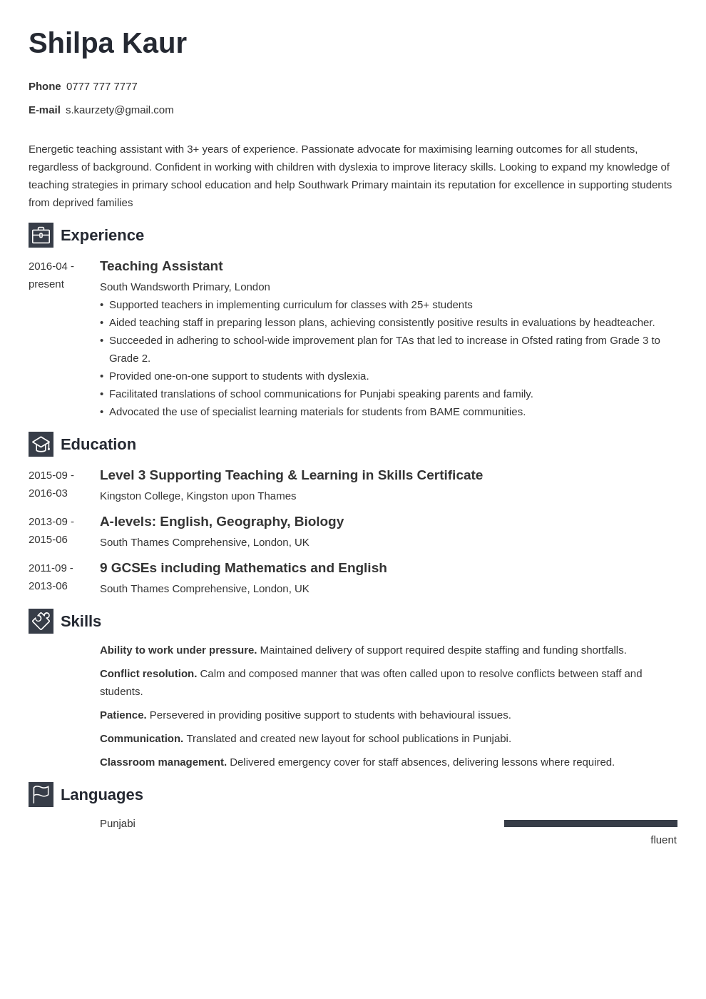 uk teaching assistant cv example template newcast