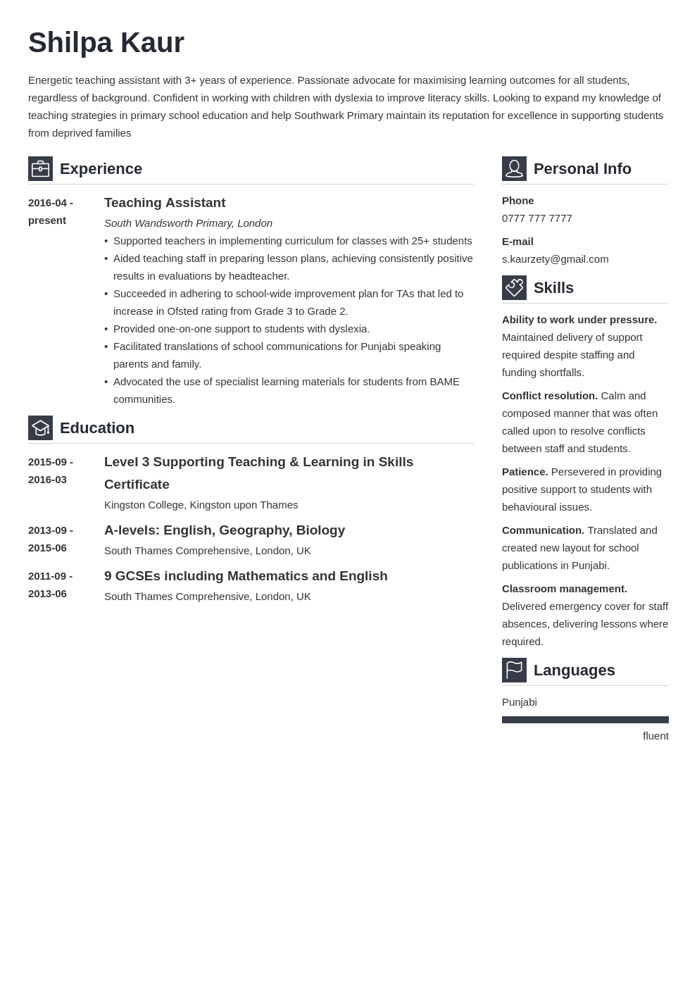 uk teaching assistant cv example template vibes