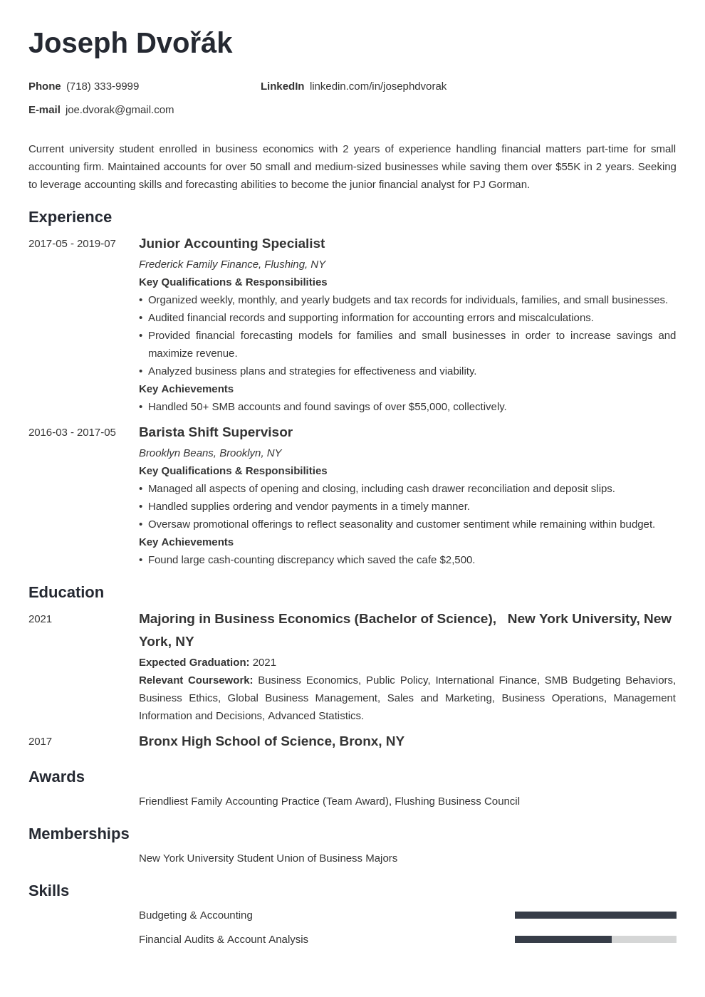 Undergraduate Student Resume from cdn-images.zety.com