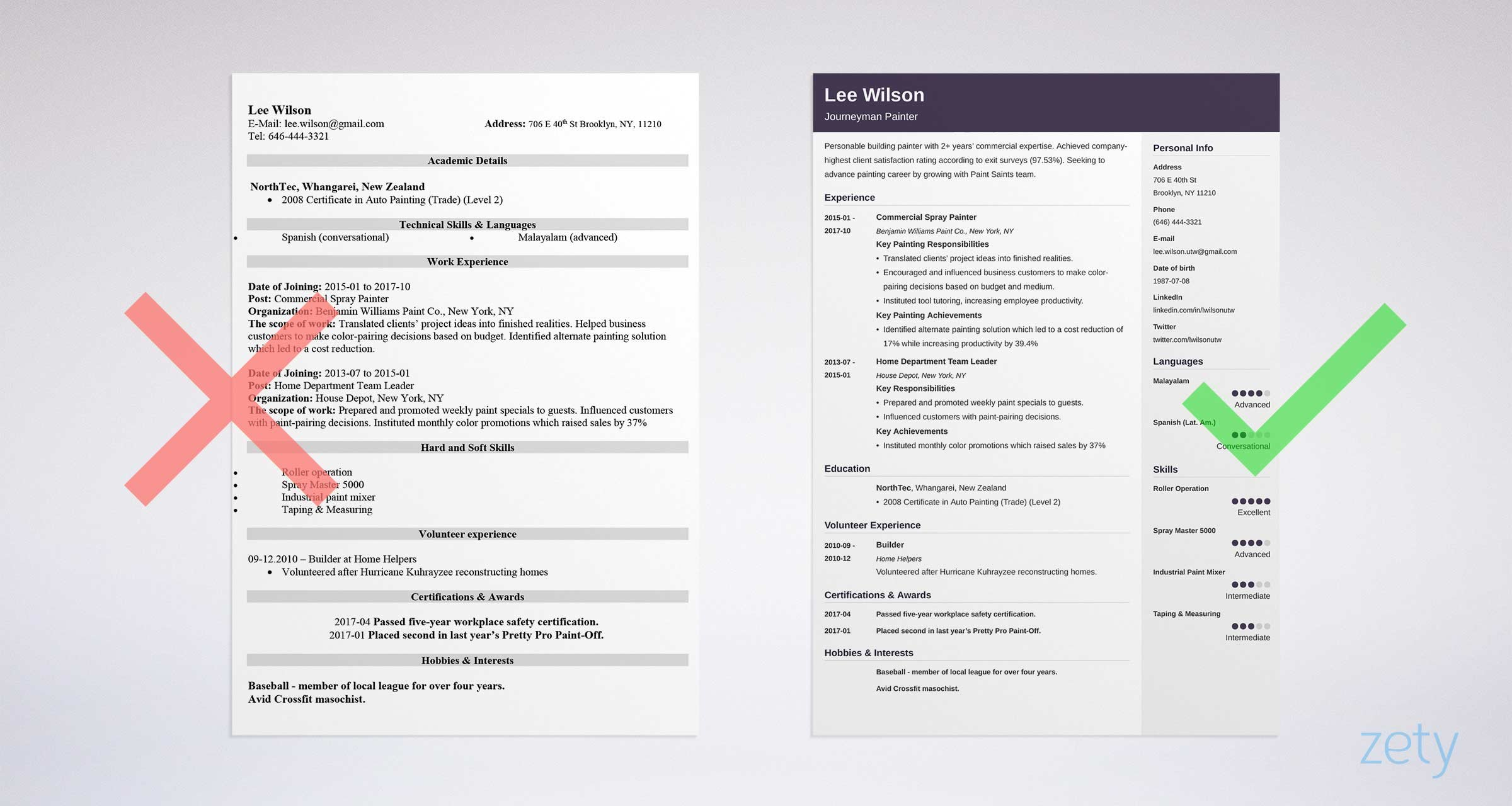 unique resume layout