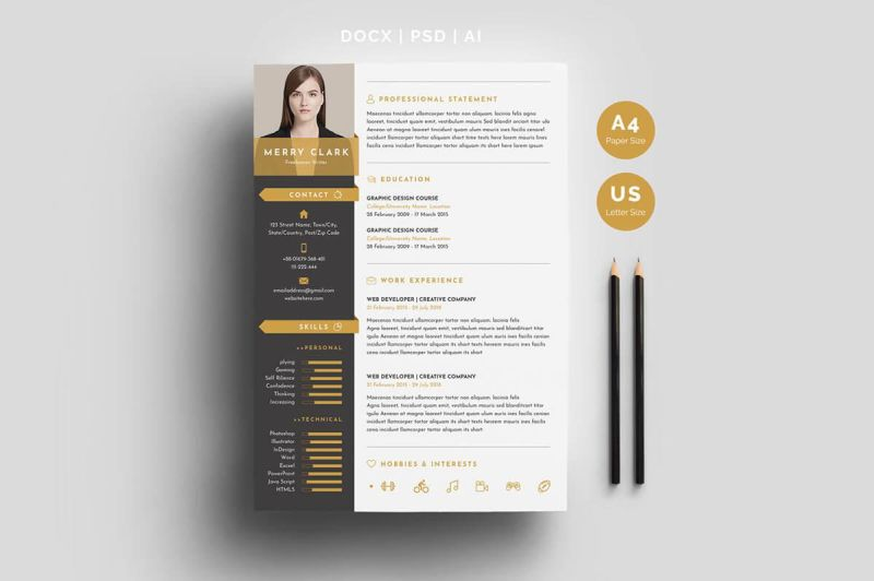 unique resume template for word with gold details - Interesting Resume Templates