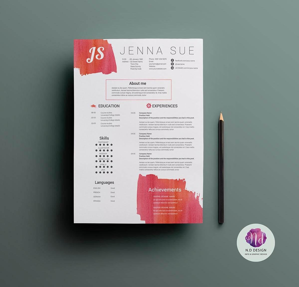 creative and unique resume template with paint splotches