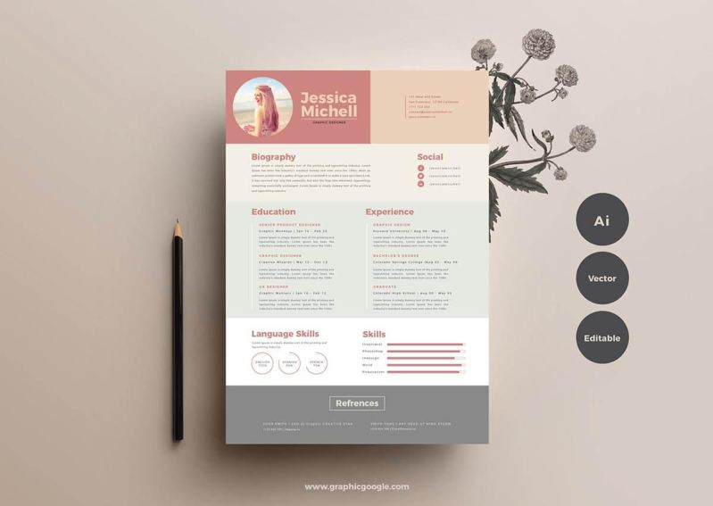 resume template in unique color palette