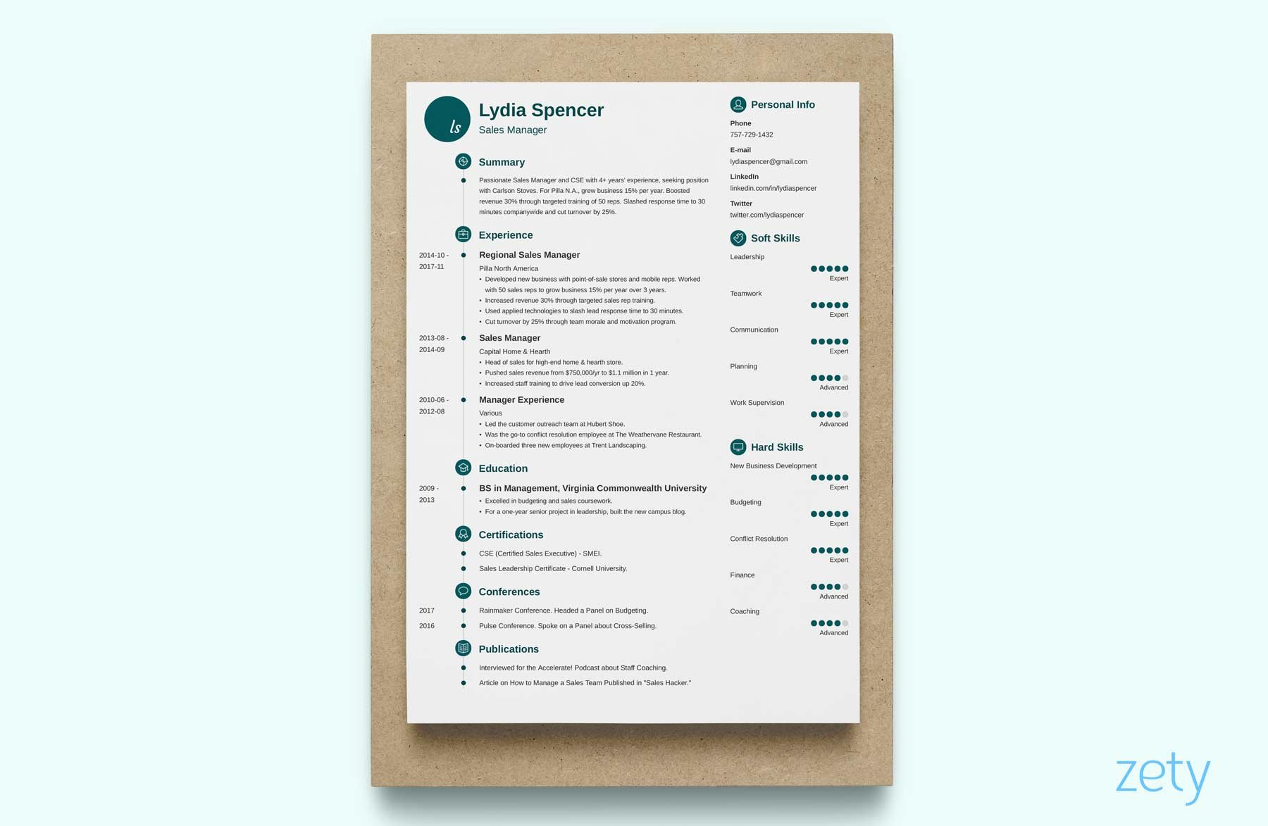 unique resume with a timeline