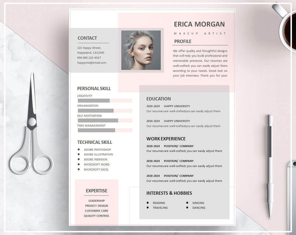 unique pastel resume template for makeup artist - Unique Resume Templates