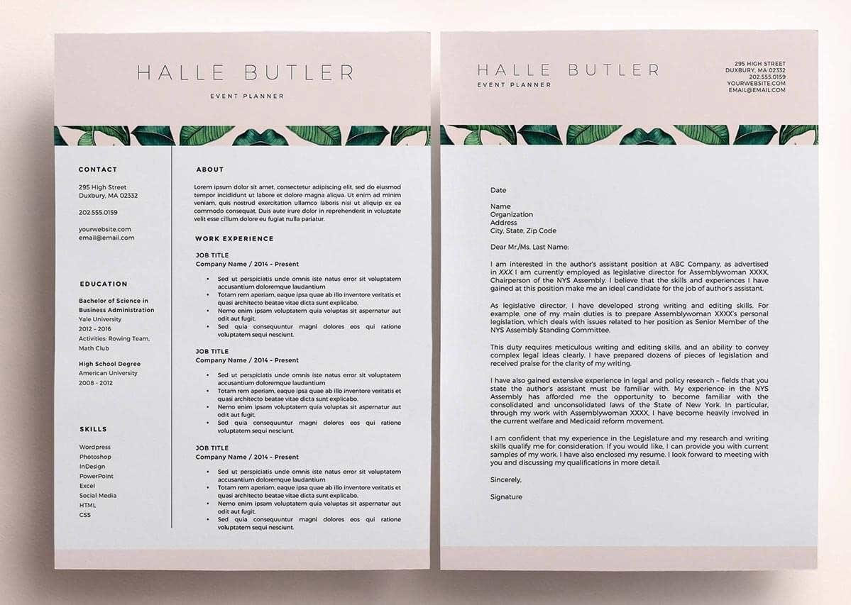 unique resume examples with leaf detail